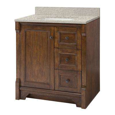 Creedmoor 31 in. W x 22 in. D Vanity in Walnut with Engineered Marble Vanity Top in Sedona with White Sink