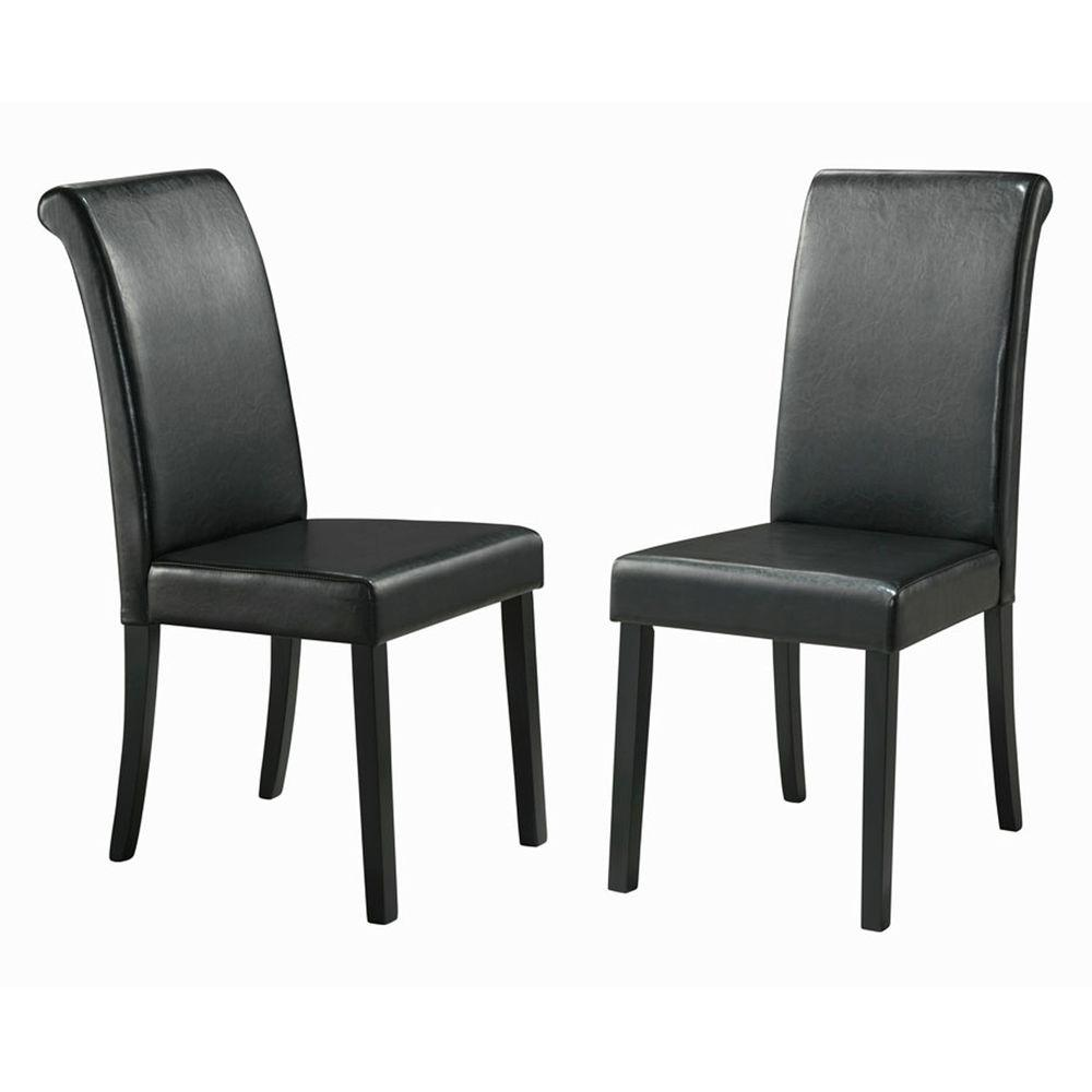 Home Decorators Collection 18 in. H Black Faux Leather Side Chairs (Set of 2) - DISCONTINUED