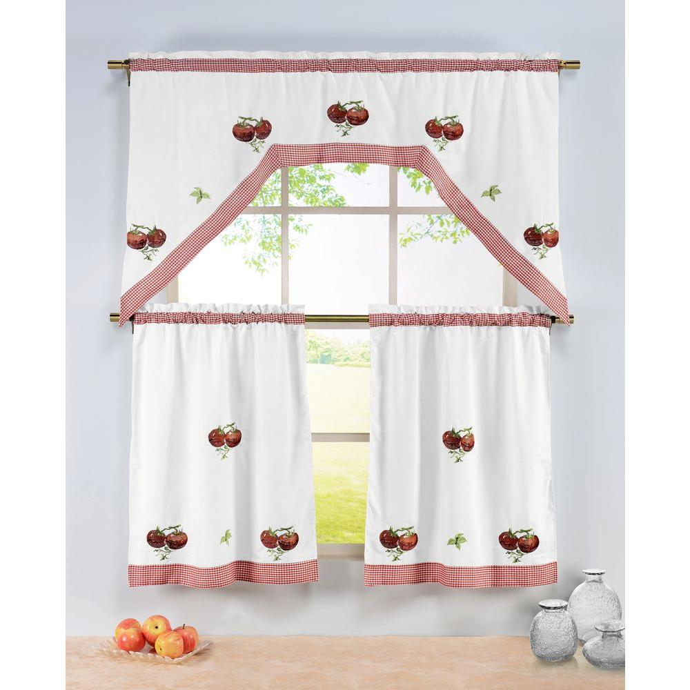 window elements semi-opaque tomatoes embroidered 3-piece kitchen