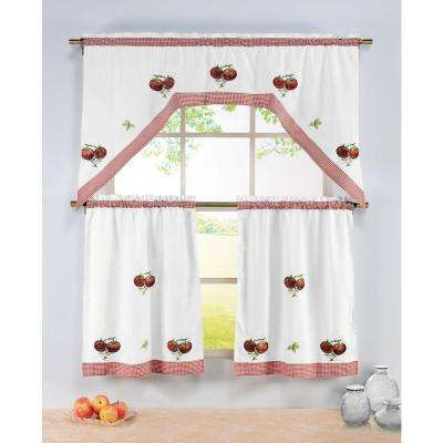 Semi-Opaque Tomatoes Embroidered 3-Piece Kitchen Curtain Tier and Valance Set