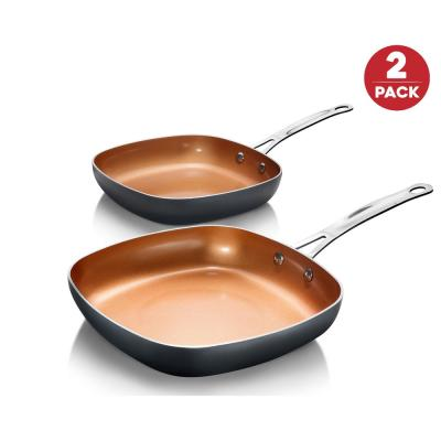 8.5 in. and 9.5 in. Aluminum Ti-Ceramic Nonstick Square Fry Pan Set (2-Piece)