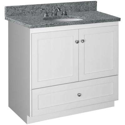 Shaker 36 in. W x 21 in. D x 34.5 in. H Vanity with No Side Drawers Cabinet Only in Satin White