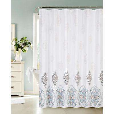 13-Piece Waffle Shower Curtain with Fresco Medallions