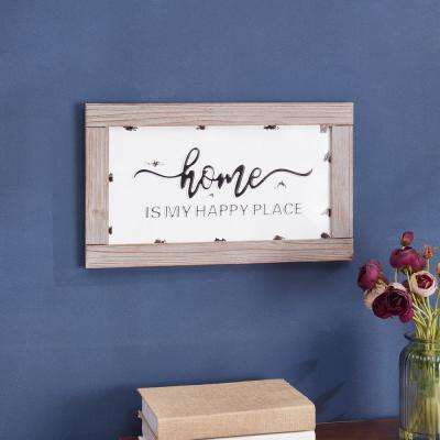 Industrial Rustic Metal Hanging Wall Art with Quote: Home is My Happy Place