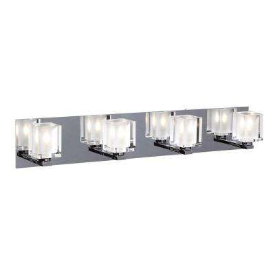 4-Light Polished Chrome Bath Vanity Light with Acid Frost Glass Shade