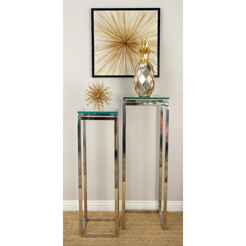 Litton Lane Metallic Silver Stainless Steel And Gl Pedestal Tables Set Of 2 90825 The Home Depot