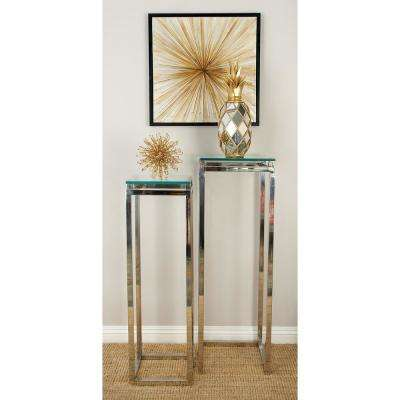Metallic Silver Stainless Steel and Glass Pedestal Tables (Set of 2)