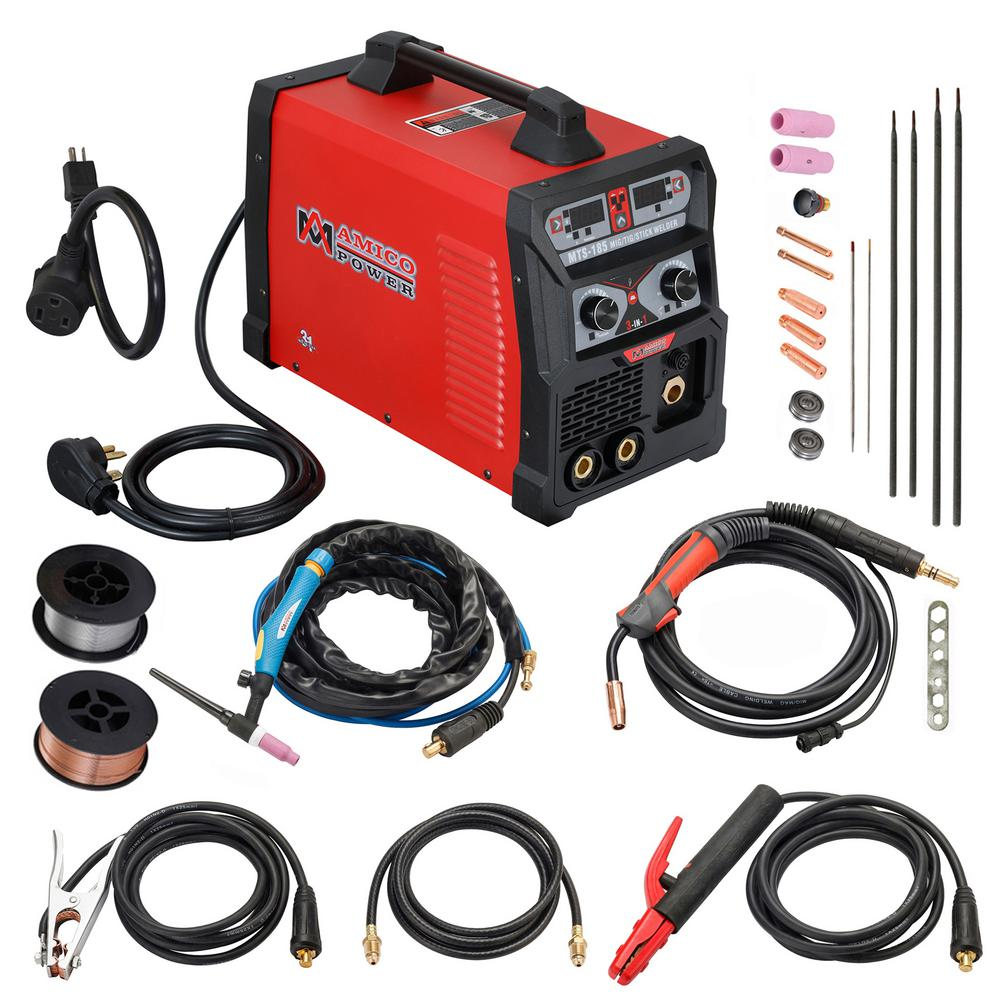 185 Amp MIG Wire Feed/Flux Core/TIG Torch/Stick Arc Welder, Weld Aluminum