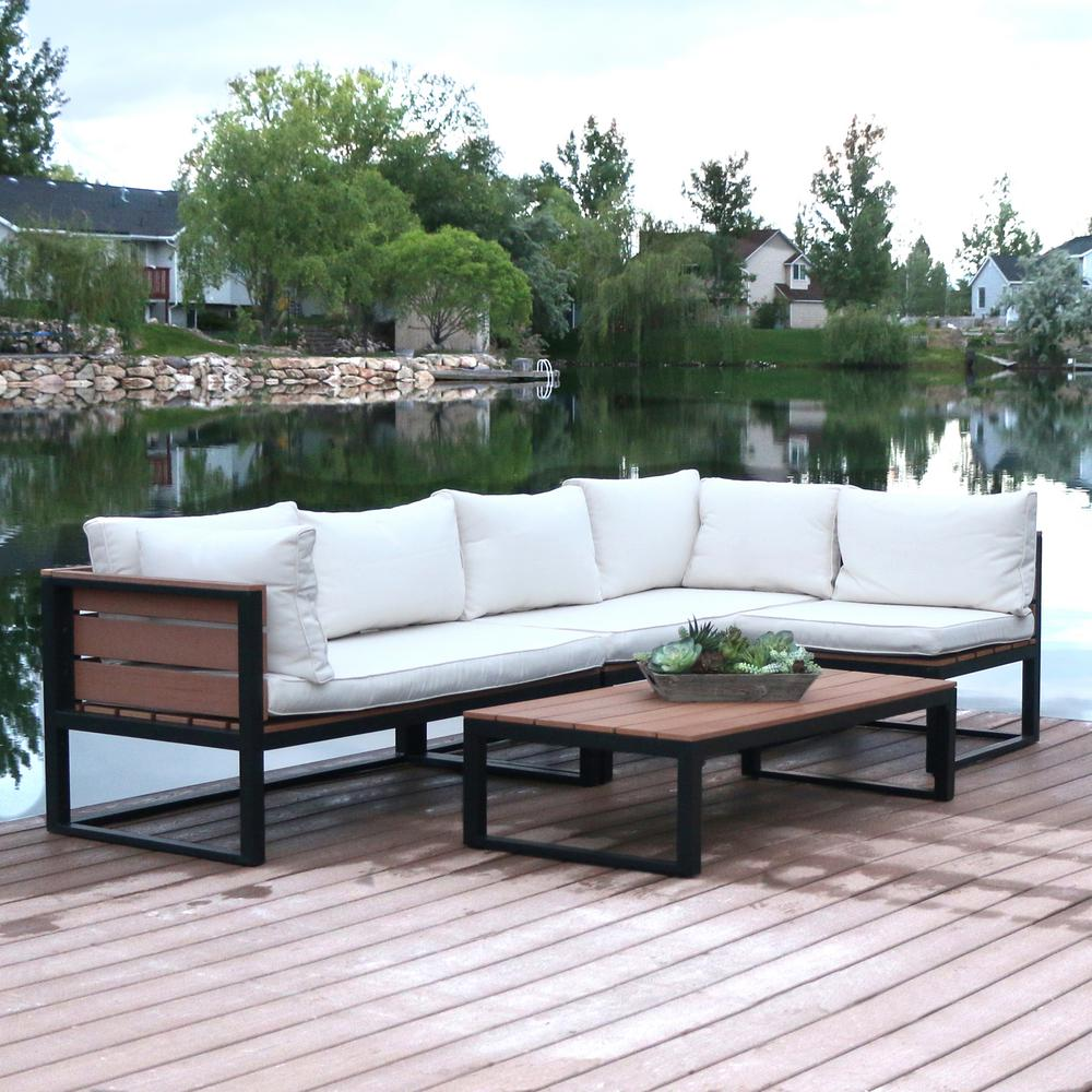 Perfect Walker Edison Furniture Company 4 Piece Natural All Weather Outdoor  Conversation Set With Cushions