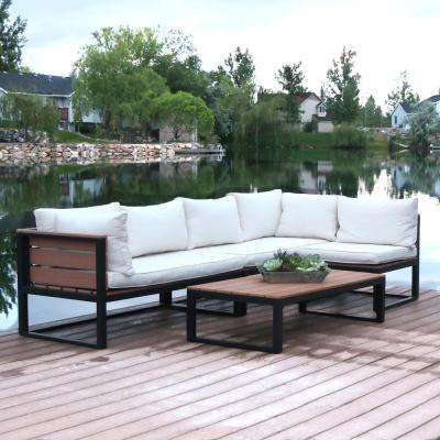 4-Piece Natural All-Weather Outdoor Aluminum Conversation Set with Cream Cushions