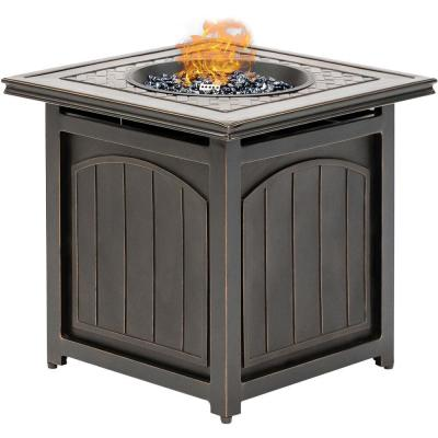 Traditions 26 in. Square Aluminum Outdoor Side Table with Fire Pit and Burner Lid