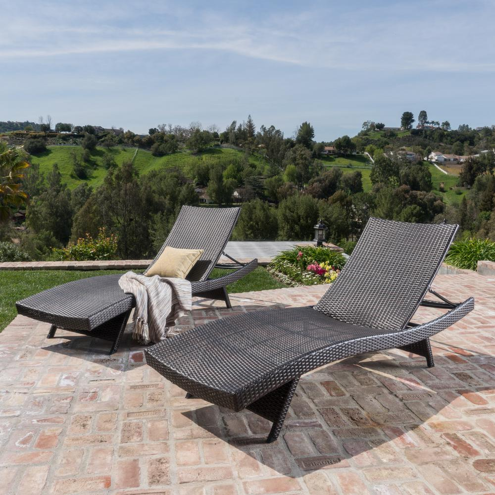 Noble House Thira Mixed Mocha Wicker Outdoor Chaise Lounges (Set of 2)