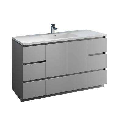 Lazzaro 60 in. Modern Bathroom Vanity in Gray with Vanity Top in White with White Basin