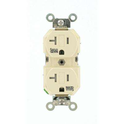 20 Amp Industrial Grade Weather/Tamper Resistant Self Grounding Duplex Outlet, Ivory