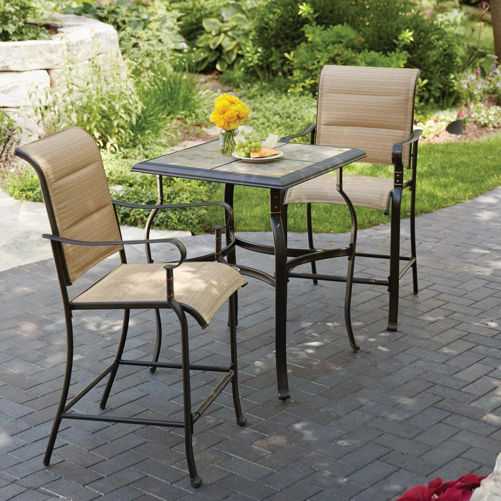 Hampton bay belleville 3 piece padded sling outdoor bistro for Porch table and chair set