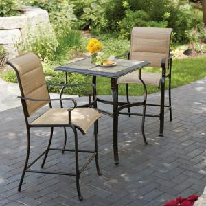 amusing piece patio furniture sets | Hampton Bay Belleville 3-Piece Padded Sling Outdoor Bistro ...