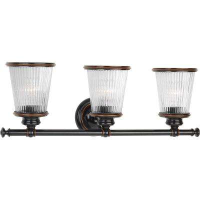Radiance Collection 3-Light Rubbed Bronze Bathroom Vanity Light with Glass Shades