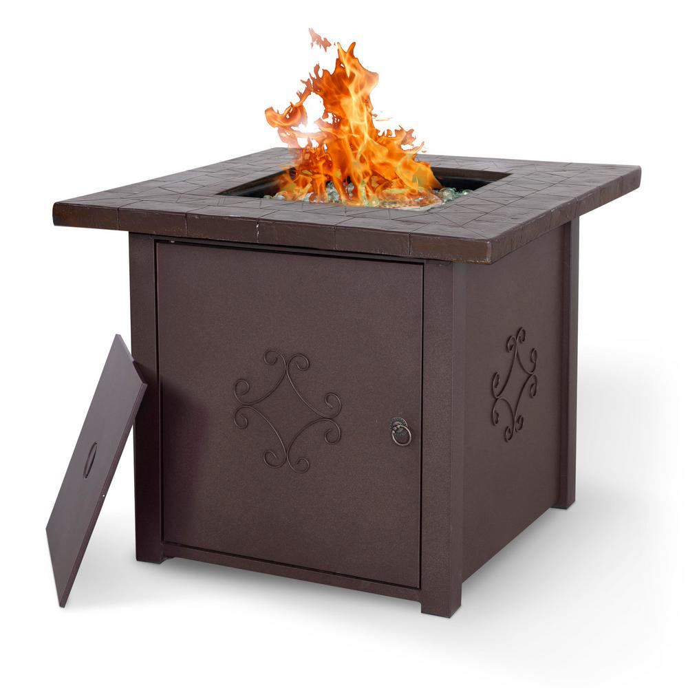 Nuu Garden 30 In Square Outdoor Propane Gas Fire Pit Table 50000 Btu Af006 The Home Depot