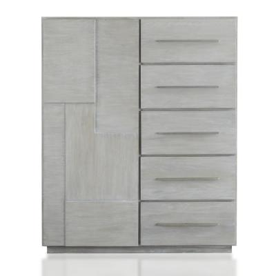 Destination 5-Drawer Cotton Grey Chest of Drawers 55 in. H x 45 in. W x 21 in. D
