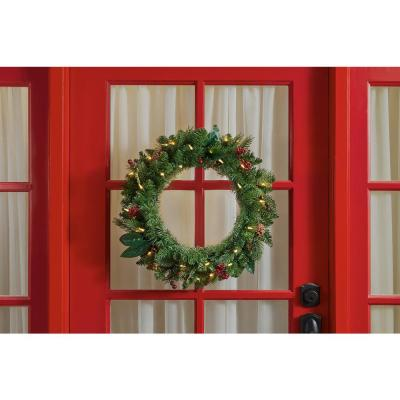24 in. Winslow Fir Battery Operated Pre-lit Artificial Christmas Wreath with 110 Tips and 30 Warm White Lights, (4-Pack)