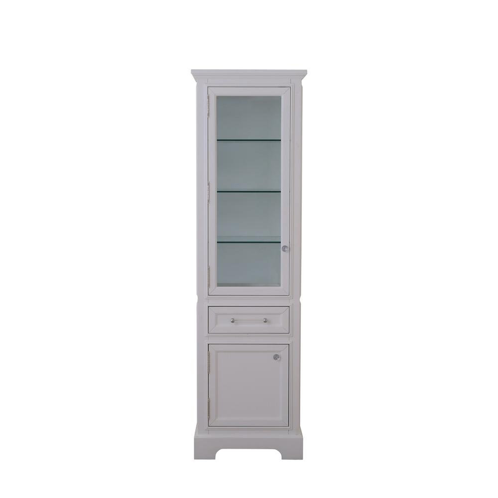 Water Creation Derby 21 in. W x 17 in. D x 72 in. H Free Standing Linen Cabinet in White
