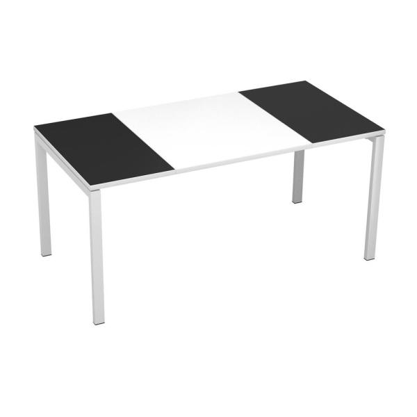 undefined Paperflow easyDesk White Middle with Black Ends 63 in. Long Training Table