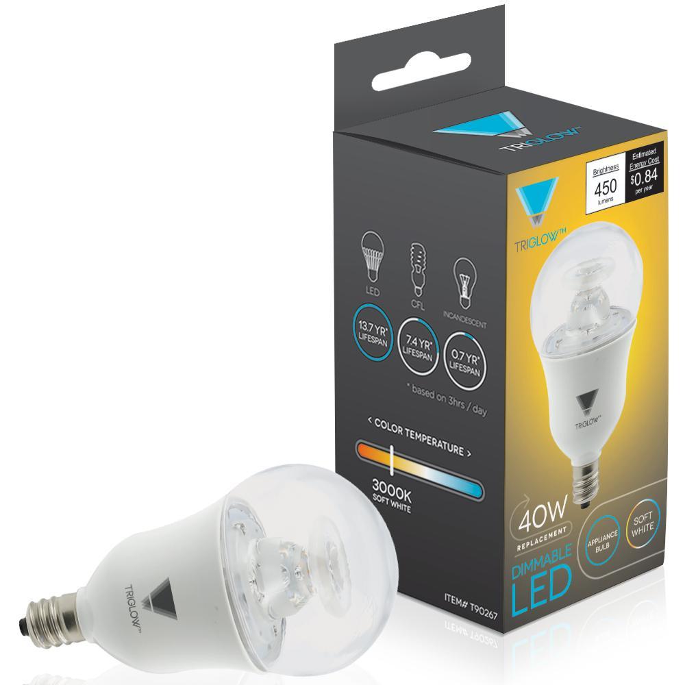 40-Watt Equivalent A15 Dimmable 450-Lumens ETL Listed E12 Candelabra Base Appliance LED Light Bulb Soft White