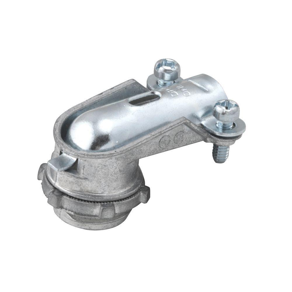 3/8 in. Flexible Metal Conduit Uninsulated 90 Degree Die-Cast Zinc Connector (50-Pack)