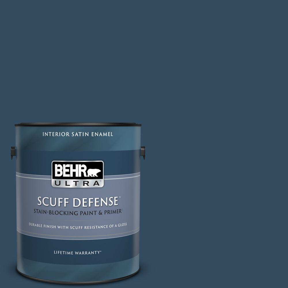 Behr Ultra 1 Gal 570d 7 Nocturnal Sea Extra Durable Satin Enamel Interior Paint And Primer In One 775301 The Home Depot