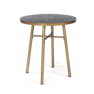 Panama Black and Brass Outdoor Bistro Table with Marble Tile Top