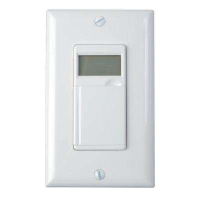 6.4 Amp 7-Day In-Wall Programmable Indoor Digital Timer Switch with No Neutral Wire, White