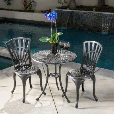 Andorra Black  3 piece  Aluminum  Outdoor Bistro Set