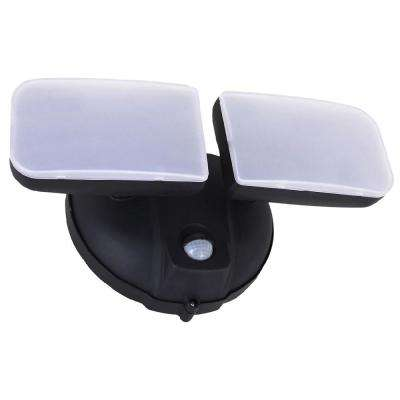 Surface Mount Black Motion Activated Outdoor Integrated LED Spot Light with Adjustable Dual Head