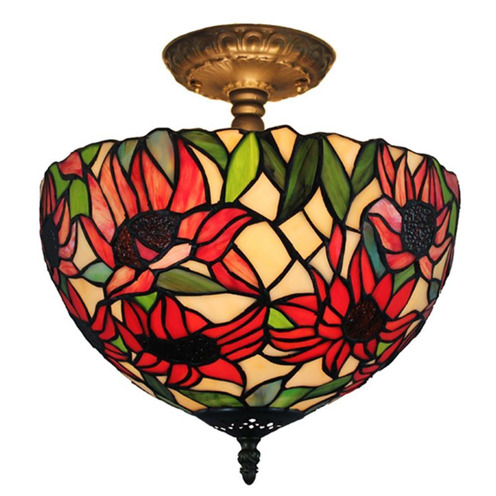 tiffany style pendant light. Tiffany Style 2-Light Sunflower Pendant Lamp 12 In. Wide Light