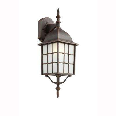Cityscape 1-Light Rust Coach Lantern with Frosted Glass