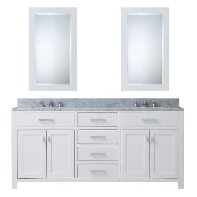 Madison 60 in. Vanity in Modern White with Marble Vanity Top in Carrara White and Matching Mirror