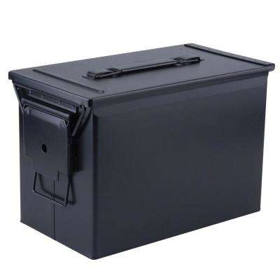 Military Grade Heavy-Duty 0.50 Cal Metal Tactical Ammo Storage Box in Black