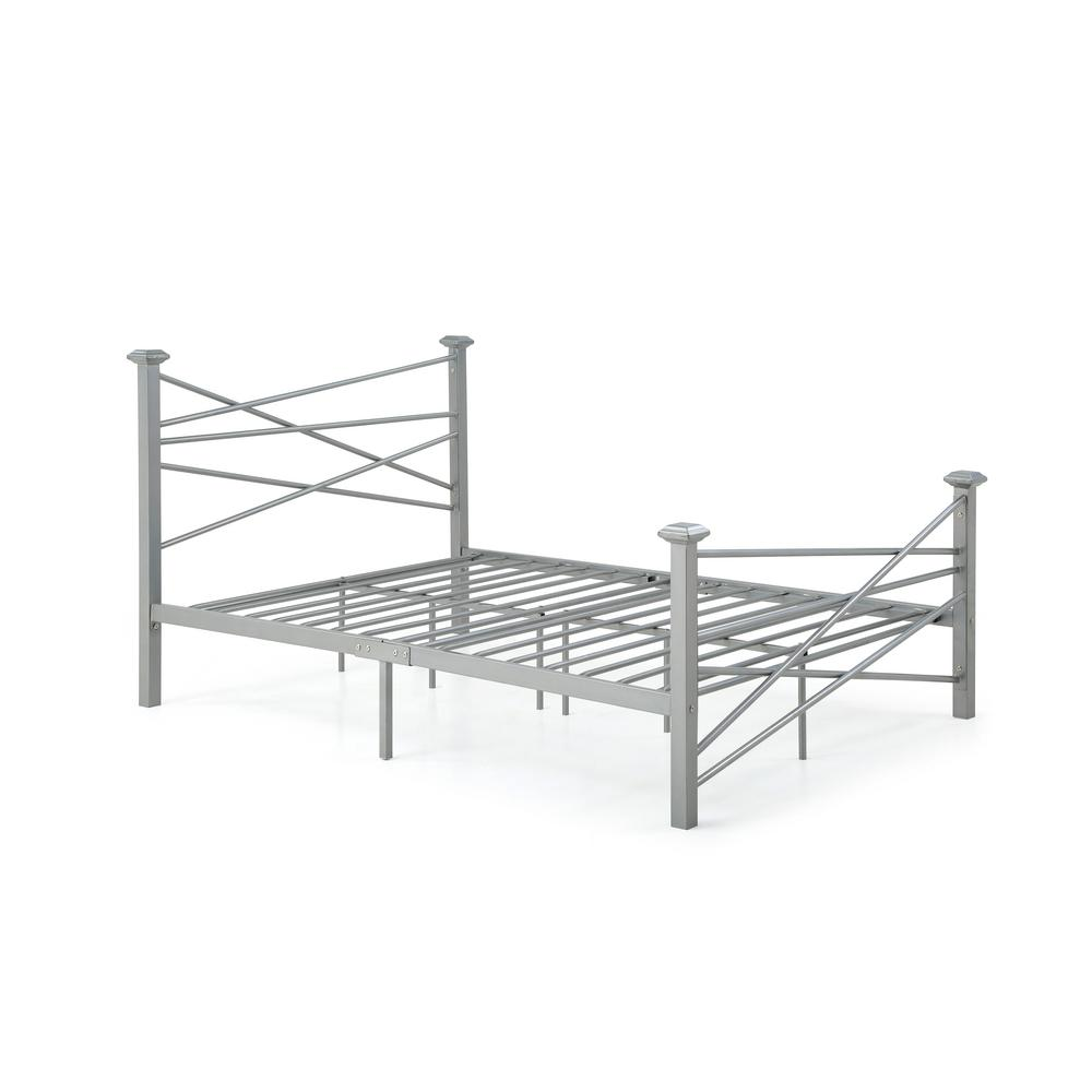 HODEDAH Complete Metal Silver Queen Bed with Headboard, Footboard, Slats  and Rails