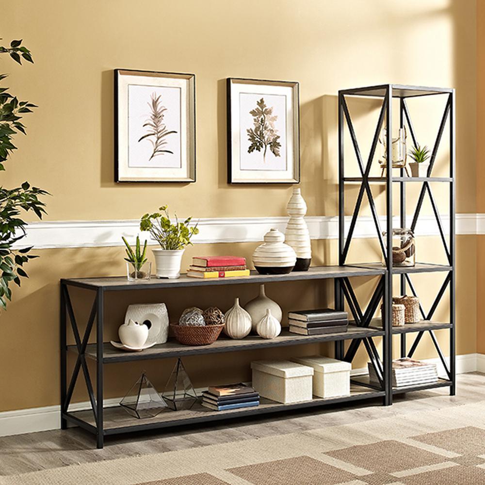 X-Frame Driftwood Wide Metal and Wood Media Bookshelf