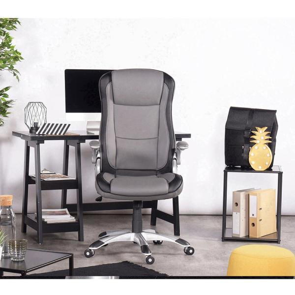 Grey Office Chair Ergonomic Swivel Computer Chair Flip Up Arms With Lumbar Support Adjustable Height Task Chair
