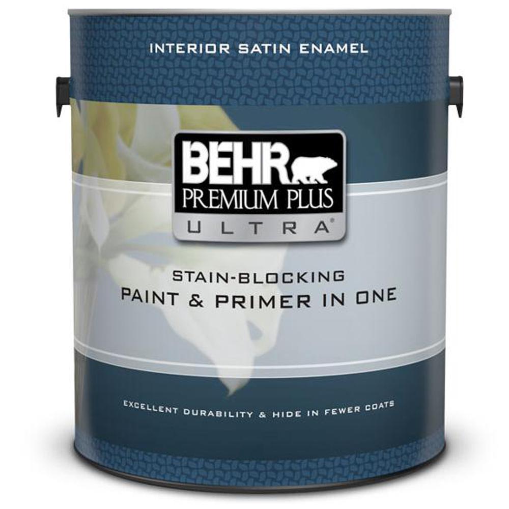Behr Premium Plus Ultra 1 Gal Pure White Satin Enamel Interior Paint And Primer