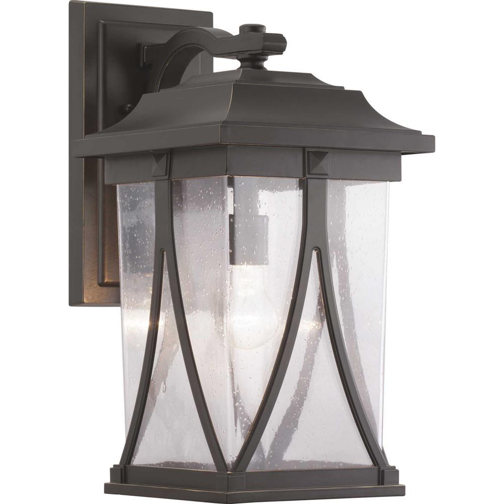 Abbott Collection 1-Light Antique Bronze Outdoor Wall Lantern Sconce