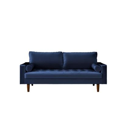Womble 69.7 in. Space Blue Velvet 2-Seater Lawson Sofa with Square Arms