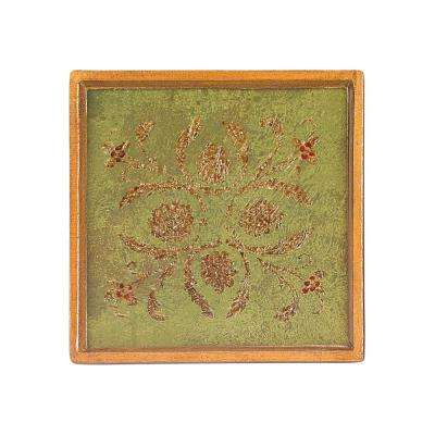 4 in. 4-Piece Square Classical Verdigris Coaster Set