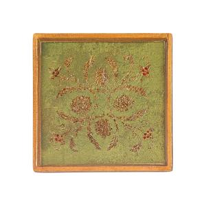 4 inch 4-Piece Square Classical Verdigris Coaster Set by
