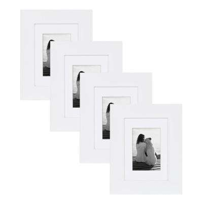 Museum 5 in. x 7 in. Matted to 3.5 in. x 5 in. White Picture Frame (Set of 4)
