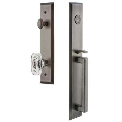 Fifth Avenue 2-3/4 in. Backset Antique Pewter 1-Piece Door Handleset with D-Grip and Baguette Clear Crystal Knob