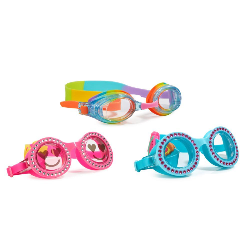 AQUA2UDE Glitter Heart Goggle (3-Pack), Blue/Pink/Rainbow