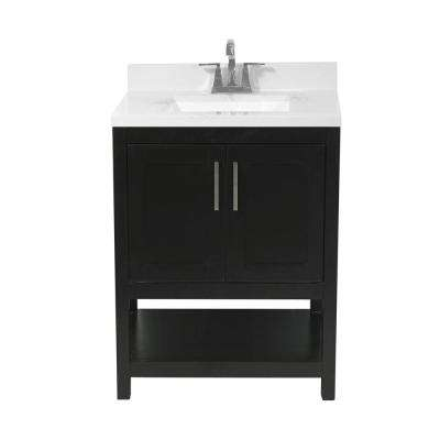 Tufino 25 in. Bath Vanity in Espresso with Cultured Marble Vanity Top with Backsplash in Carrara White with White Basin