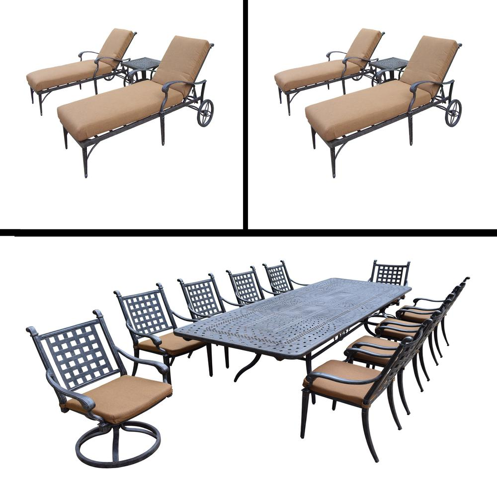 Belmont 17-Piece Aluminum Outdoor Dining Set with Sunbrella Brown Cushions